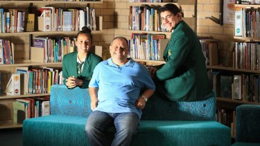 David Ghattas with his daughter, Stephanie and son, Sarkis at Merrylands High School, in Sydney's west.