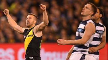 Kane Lambert celebrates a major score.