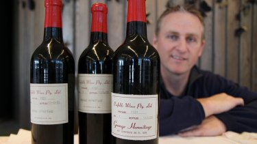 Greg Kilner with three bottles of the extremely rare 1951 Grange, all of which were examined and certified.