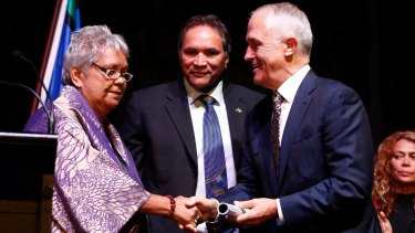 National Congress of Australia's First People's co-chairs Dr Jackie Huggins and Rod Little present the Redfern Statement to Prime Minister Malcolm Turnbull on Tuesday.