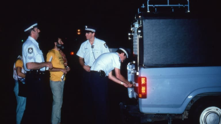 Billy Snow during one of his many arrests, this time at the Sydney Opera House.