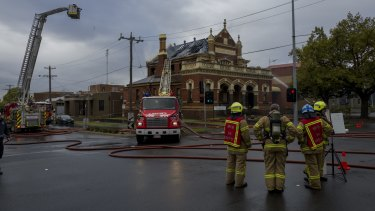 About 50 firefighters helped fight the blaze at the old Moonee Ponds courthouse.