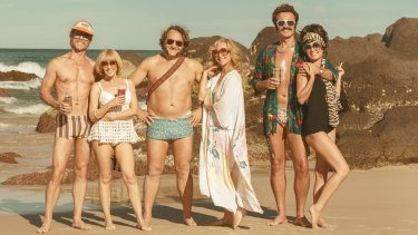 The 70s are back: (from left) Guy Pearce, Kylie Minogue, Jeremy Sims, Asher Keddie, Julian McMahon and Radha Mitchell in Flammable Children.