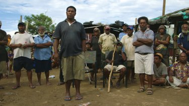 PNG land rights activist Joseph Moses (foreground) in a scene from the film.