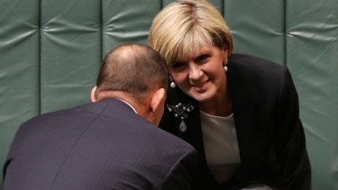 Prime Minister Abbott and Julie Bishop during question time on Monday.