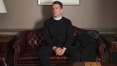 Ethan Hawke as Reverend Toller in First Reformed.