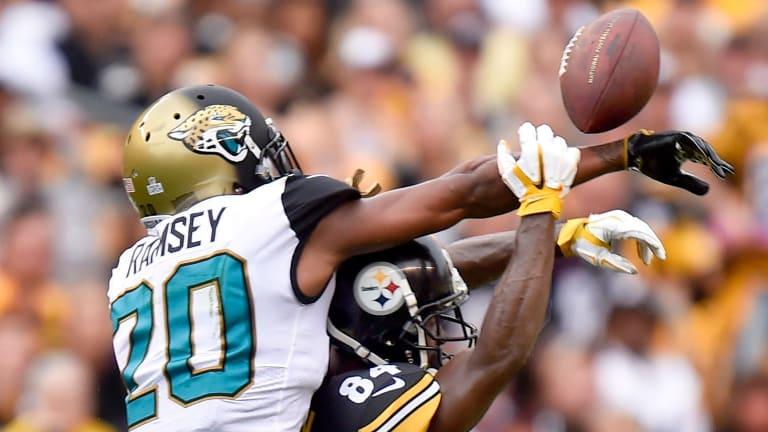 Key contest: Jacksonville cornerback Jalen Ramsey kept All-Pro receiver Antonio Brown in check when the two teams met in October.