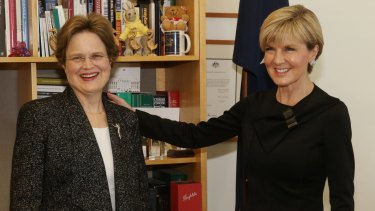 Foreign Affairs minister Julie Bishop welcomes Frances Adamson as Secretary of the Department of Foreign Affairs and Trade at Parliament House in August last year.