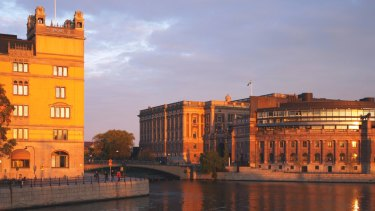 Still operating: Sweden's Government chancellery Rosenbad to the left and the Swedish Parliament to the right.