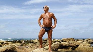 Good life: Nick Iliopolous, 83, on Bronte Beach. The secret to his longevity is salad, sea and sun.