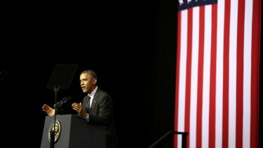 Wide-ranging: US President Barack Obama delivers his speech in Brisbane.