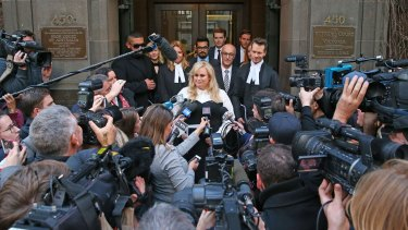 Rebel Wilson speaks to the media outside the Victorian Supreme Court on Thursday.