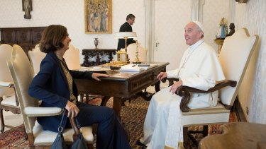 Fake news foes: Pope Francis meets Lower Chamber President Laura Boldrini during a private audience at the Vatican.