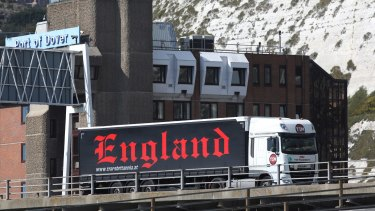 Uncertain path: A cargo truck bearing the word 'England' manoeuvres through the Port of Dover