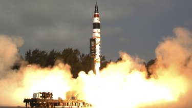 Indian official photograph from 2012 showing it successfully test launched a nuclear-capable missile.