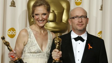 Producer Eva Orner and director Alex Gibney after winning best feature documentary at the Oscars for <i>Taxi to the Dark Side</i> in 2008.