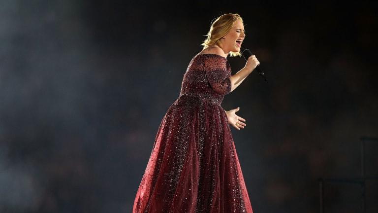 Adele performing at Etihad Stadium on Saturday in Melbourne.