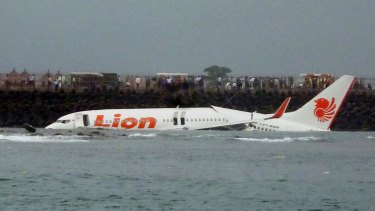 The Lion Air jet crashed into the sea near Denpasar airport, Bali.