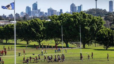 Waverley College plays rugby on its home ground in Queens Park.