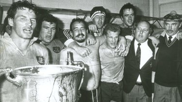 No going back: Alan Jones (second from right) celebrates a Bledisloe Cup win with the Wallabies in 1986.