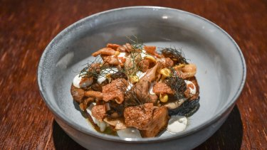 Mixed mushrooms with fennel and goat's curd.