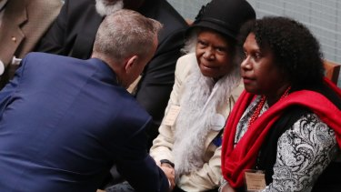 Opposition Leader Bill Shorten with Bonita Mabo after an address on the 50th anniversary of the 1967 referendum at Parliament House.