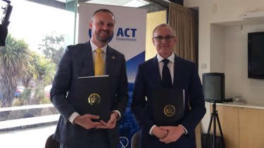 ACT Chief Minister Andrew Barr and South Australia Premier Jay Weatherill signed a memorandum of understanding between their two governments to work together to put Australian into the space race in August.