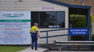 A worker entering the Hazelwood plant on Thursday morning.