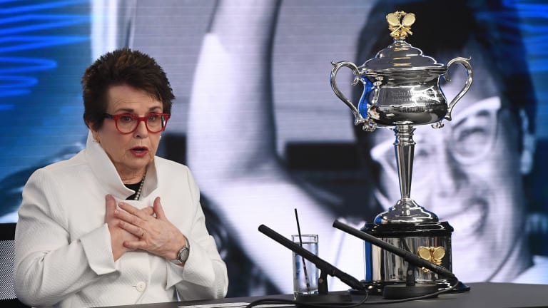 Billie Jean King speaks at a media conference ahead of the Australian Open where she called for the renaming of the Margaret Court Arena.