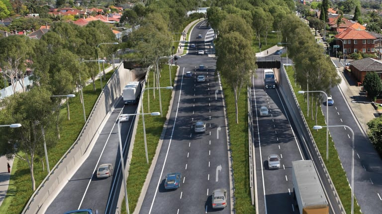 Artist's impression of WestConnex entry and exit in Haberfield. An entrance of similar scale would be built at Parramatta Road at Sydney University if an interchange was build there.