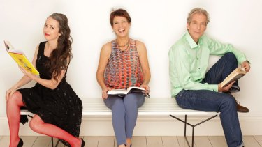 Jennifer Byrne with her fellow Book Club panelists Marieke Hardy and Jason Steger.