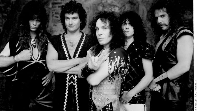 Ronnie James Dio in life with his band: (from left) Craig Goldie, Vinny Appice, Dio, Jimmy Bain, Claude Schnell.