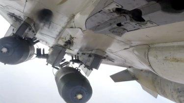 A Russian Su-24M aircraft makes a  raid in Syria.