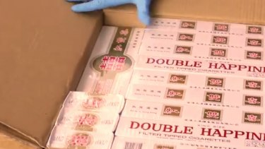 Part of a haul of 4.5 million cigarettes intercepted by Australian Border Force in a container from Malaysia declared as boxes of paper cups.