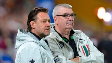 Leaving Souths: Shane Richardson with South Sydney owner Russell Crowe.