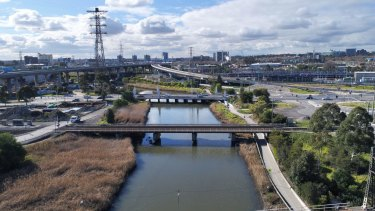 Moonee Ponds Creek between Dynon and Footscray roads, the location for a Spaghetti junction.