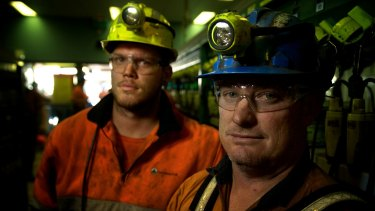 Mine workers Adam Powell and Darrin Francis, at the Springvale mine near Lithgow.
