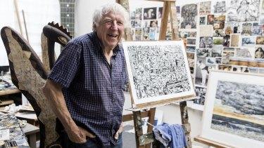 Jan Senbergs in his studio: ''I just like sitting here sometimes.''