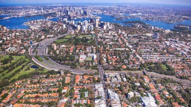 Sydney's lower north shore, looking south from Cammeray over the central business district.