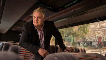 Simon Rowe in the first Sleepbus, which he is converting to a portable shelter for homeless people.