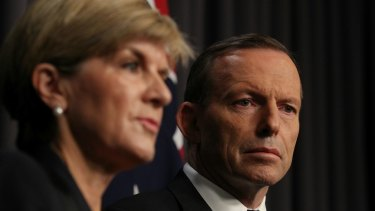 Foreign Affairs Minister Julie Bishop and Prime Minister Tony Abbott address the media after the executions of Andrew Chan and Myuran Sukumaran.