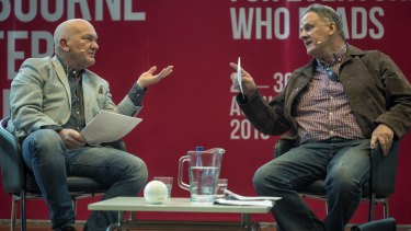 Mark Latham clashes with host Jonathan Green at the Melbourne Writers Festival.