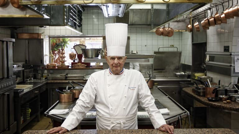 Legendary French chef Paul Bocuse at his famed Michelin three-star restaurant L'Auberge du Pont de Collonges in Collonges-au-Mont-d'or, central France.