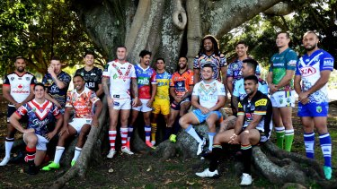 Celebration: Players model the Indigenous Round jerseys.