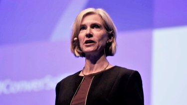 Jennifer Doudna, seen here speaking at the Melbourne Convention Centre, is one of the key figures in the row over who owns CRISPR technology.