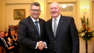 Keith Pitt with Governor-General Sir Peter Cosgrove at his swearing in as assistant minister for trade, investment and tourism in 2016.