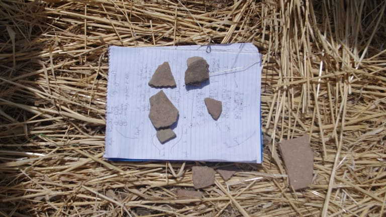 Pottery fragments collected from Peshdar-36, believed to be the site of an important Median settlement - the amount of grit in the clay indicates the site dates from the Median empire.