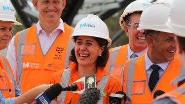 Premier Gladys Berejiklian visited construction of a Sydney Metro station last month.
