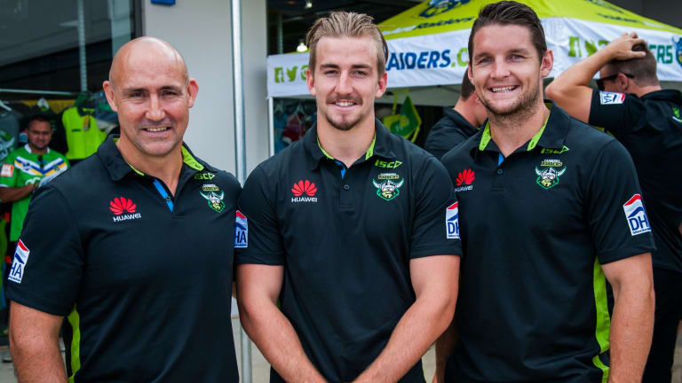 Raiders legend Jason Croker, left, with his nephew Lachlan Croker and captain Jarrod Croker (no relation). All three are playing for the Raiders at the Auckland Nines.