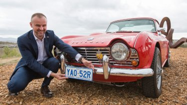 Chief Minister Andrew Barr announced the brand new slogan for ACT number plates 'Canberra - The Bush Capital' at the National Arboretum on Tuesday.